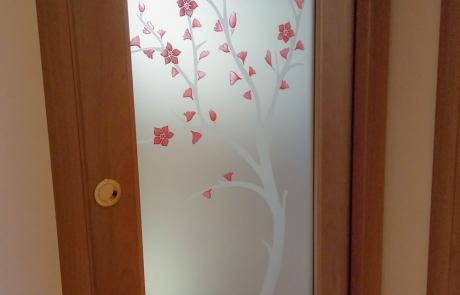 Vetro decorato per porta in legno 'Pesco'