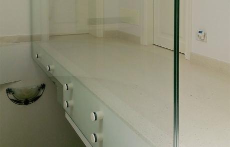 parapetto interno scala in vetro extra chiaro